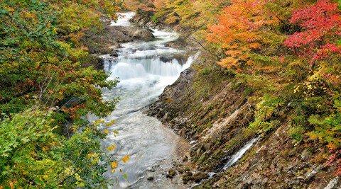 川内川渓谷の紅葉写真