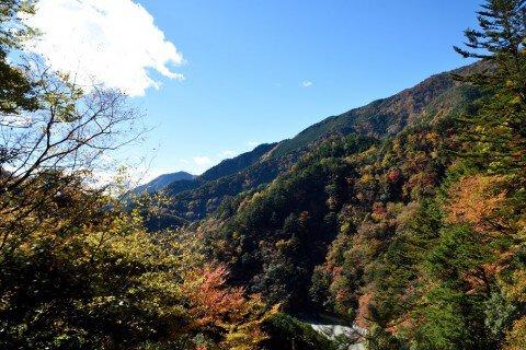 井川湖の紅葉写真