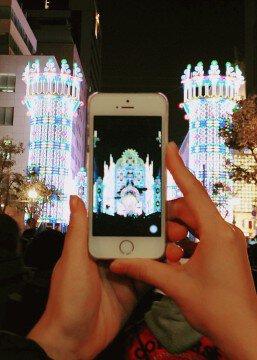 神戸ルミナリエの紅葉写真