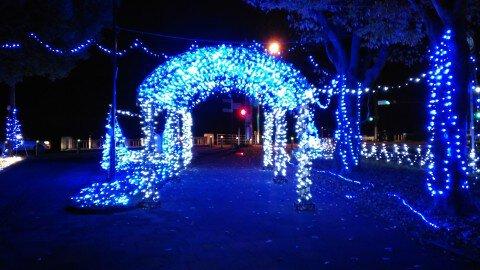 飯塚緑道公園のイルミネーション写真