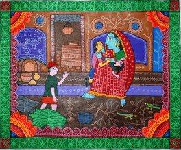 ネパールの伝統画、ミティラー画を描こう!(あべのハルカス近鉄本店)