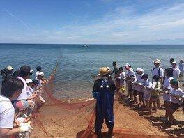 JAFデー氷見島尾 地引き網体験と大漁鍋