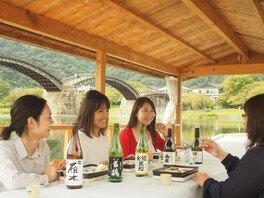 秋の錦帯橋「地酒舟」