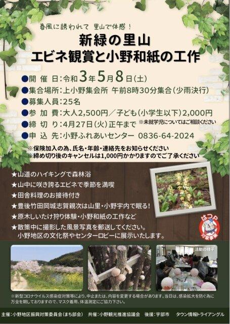 新緑の里山 エビネ観賞と小野和紙の工作