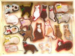 猫毛フェルト教室 in かぎしっぽ 猫毛クッキーブローチ