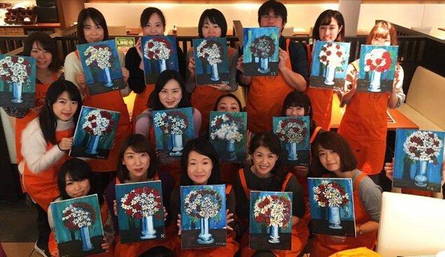 新宿ペイントパーティ「フレンチバルでワイン片手に絵を描こう」(4月)