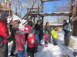 冬の森探検ツアーと焚火でクッキング体験