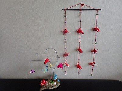 まゆ玉工作教室 金魚の吊るし飾り&鳥のモビール