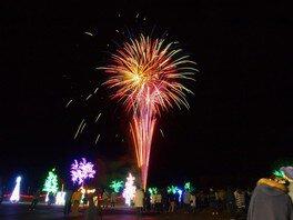 イルミで彩られた園内に毎週土曜は花火が打ち上がる
