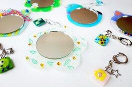 夏限定ガラスフュージング「アートミニミラーorキーホルダー」作り