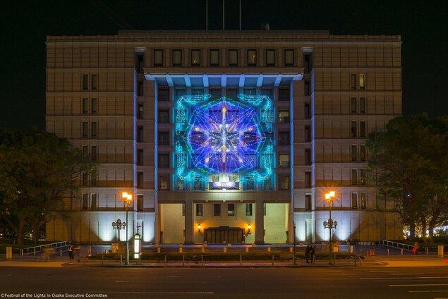 OSAKA光のルネサンス2017 大阪市庁舎正面イルミネーションファサード