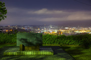 高塔山公園の火野葦平文学碑の夜景