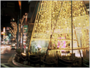 金箔雪吊り「金箔きらら」&ツリーファンタジーイルミネーション