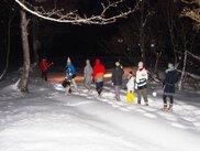 夜の雪原かんじきハイキング