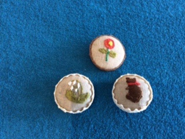 刺繍のくるみボタン