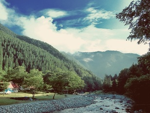 老谷の森 川のほとりのキャンプ場