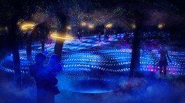 「グローウィングリバー」光の川を渡ると、足元で光が踊り、水流の音が動きに共鳴する