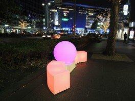 大博通りと筑紫口駅前広場に設置するLEDオブジェのベンチ